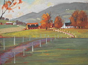 Berkshire Hills Paintings - Close Up by Len Stomski