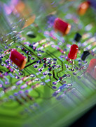 Integrated Prints - Close-up Of An Electronic Circuit Board. Print by Tek Image