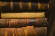 Book Cover Prints - Close Up Of Antique Books In Leather Covers, Studio Shot Print by Tetra Images