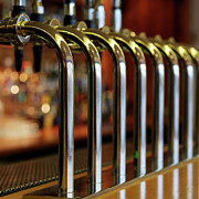 Square Tapestries Textiles - Close-up Of Bar Taps by Stockbyte