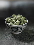 Wasabi Posters - Close Up Of Bowl Of Wasabi Peas Poster by Diana Miller