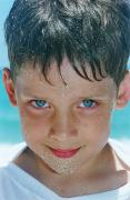 Caucasian Appearance Framed Prints - Close Up Of Boy Covered In Sand Framed Print by Michelle Quance