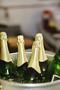 Champagne Metal Prints - Close Up Of Bucket Of Champagne Metal Print by Hybrid Images