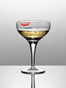 Champagne Framed Prints - Close Up Of Champagne In Glass With Lipstick Stain Framed Print by Andy Roberts