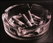 Cigarette Posters - Close-up Of Cigarette Butts And Ash In An Ashtray Poster by Cristina Pedrazzini