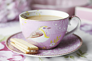 Hot Drink Prints - Close Up Of Cup Of Tea And Cookie Print by Debby Lewis-Harrison