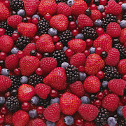 Y120817 Art - Close-up Of Freshly Picked Mixed Berries by Andrew Bret Wallis