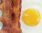 Sunny Side Up Posters - Close Up Of Fried Egg With Bacon, Studio Shot Poster by Jamie Grill