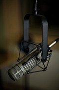 Colored Background Prints - Close-up Of Recording Studio Microphone Print by Christopher Kontoes