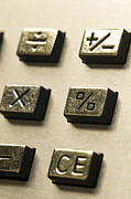 Push Button Prints - Close-up of sign on the buttons of a calculator Print by Bernard Jaubert