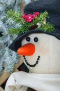 Christmas Snowman Framed Prints - Close-up Of Snowman Framed Print by Carson Ganci