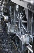 Steam And Smoke Prints - Close-up Of Steam Engine Train Wheel Print by John Short
