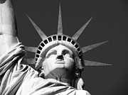 Black And White New York City Prints - Close Up Of The Head Of The Statue Of Liberty Print by Anna Grove