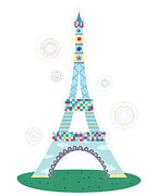 Paris Digital Art Prints - Close-up Of Tower Print by Eastnine Inc.