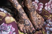 Moroccan Photos - Close-up Of Womans Feet With Henna by Axiom Photographic