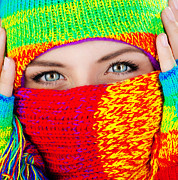 Clothes Clothing Art - Close up on covered face with blue eyes by Anna Omelchenko