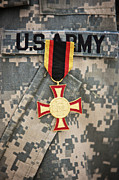 Military Medal Photo Framed Prints - Close-up View Of A German Gold Cross Framed Print by Terry Moore
