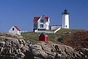 Neddick Prints - Close Up View of a Lighthouse Cape Neddick Maine Print by George Oze