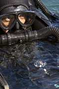 Diving Suit Prints - Close-up View Of A U.s. Navy Seal Print by Michael Wood