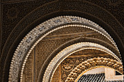 Tourist Attraction Prints - Close-up view of Moorish arches in the Alhambra palace in Granad Print by David Smith