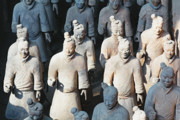 Qin Prints - Close Up View of Terracotta Warriors Print by George Oze