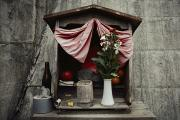 Devotional Art Photo Posters - Close View Of A Shrine With Oferings Poster by Sam Abell