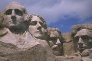 South Dakota Tourism Posters - Close View Of Mount Rushmore Carved Poster by Nadia M.B. Hughes