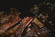 Stoves Framed Prints - Close View Of Ribs Barbecuing Framed Print by Medford Taylor