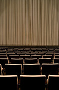 Movie Theater Framed Prints - Closed Curtain In An Empty Theater Framed Print by Adam Burn