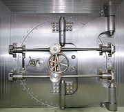 Enterprise Photo Prints - Closed Door to a Bank Vault Print by Adam Crowley