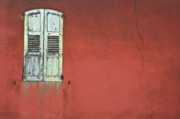 Sami Sarkis Prints - Closed window shutter on a cleaved ochre wall Print by Sami Sarkis