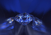 Glitter Jewelry Prints - Closeup blue diamond in blue light. Print by Atiketta Sangasaeng