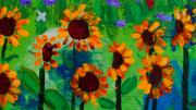 Summer Fun Paintings - Closeup from Day and Night in a Sunflower Field by Angela Annas