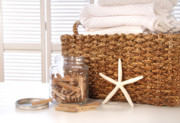 Table Cloth Posters - Closeup of laundry basket with fine linens  Poster by Sandra Cunningham