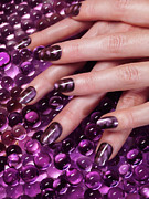 Vivid Colors Metal Prints - Closeup of Woman Hands With Purple Nail Polish Metal Print by Oleksiy Maksymenko