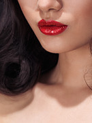 Chin Up Photo Prints - Closeup of woman red lips Print by Oleksiy Maksymenko