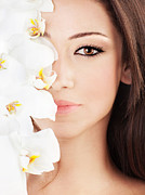 Brunette Prints - Closeup on beautiful face with flowers Print by Anna Omelchenko