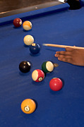 Pool Balls Photos - Closeup Photo Of A Hand Shooting by Phil Schermeister