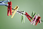 Clothesline Framed Prints - Clothes Pegs Framed Print by Joana Kruse