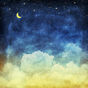 Blue Pastels Posters - Cloud And Sky At Night Poster by Setsiri Silapasuwanchai