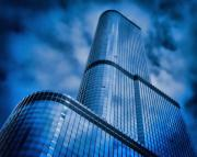 City Scape Metal Prints - Cloud City In Blue Metal Print by Tony Grider