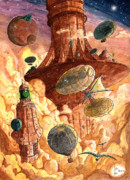 Steampunk Drawings - Cloud City by Luis Peres