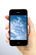 Smartphone Posters - Cloud Computing Poster by Photo Researchers