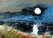 Sea Moon Full Moon Drawings Prints - Cloud Cover Print by John  Williams