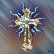 Reds Orange And Blue Metal Prints - Cloud Cross Blues Metal Print by Waylan Loyd