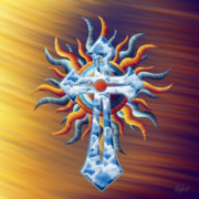 Reds Orange And Blue Metal Prints - Cloud Cross Mix Emotions Metal Print by Waylan Loyd