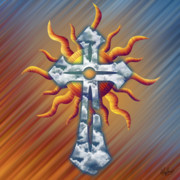 Reds Orange And Blue Metal Prints - Cloud Cross Passion Metal Print by Waylan Loyd