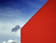 Low Wall Posters - Cloud Floating Through Blue Sky Over The Red Corne Poster by Zeb Andrews