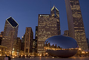 Chicago Photo Metal Prints - Cloud Gate at Night Metal Print by Timothy Johnson