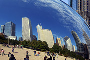 Skylines Posters - Cloud Gate Millenium Park Chicago Poster by Christine Till